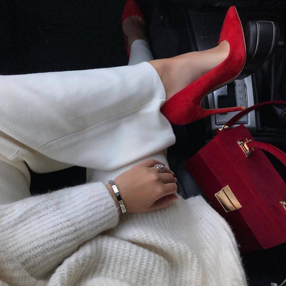 Leah Red Suede Leather Pumps