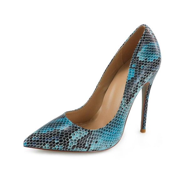 Leah Snake Skin Leather Pumps