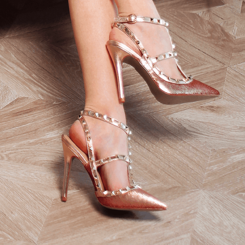 Daniella Rose Gold Leather Pumps