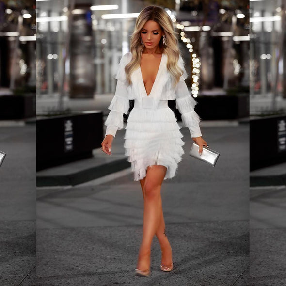 Miliana White Fringe Mini Dress (Limited Stock)