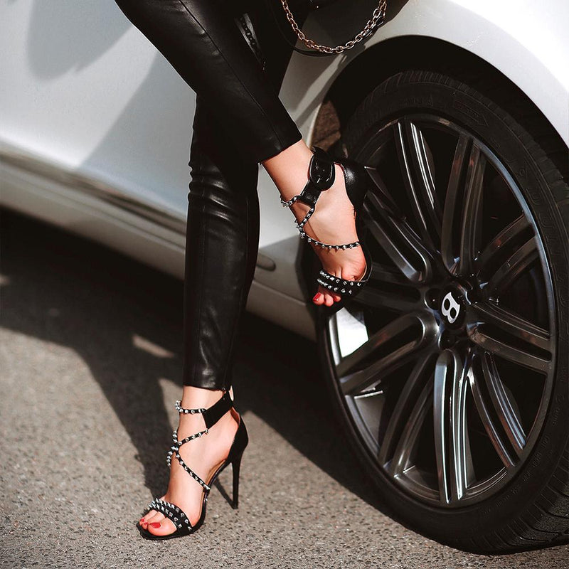 Roxanne Studded Black Leather Sandals