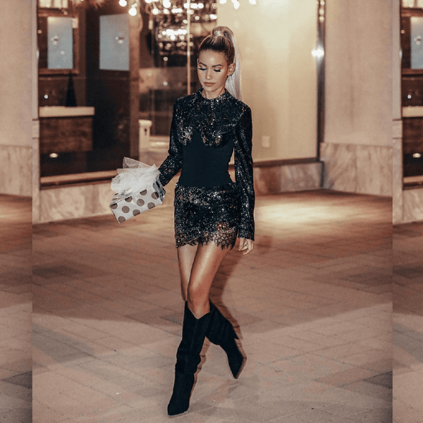 Esmerelda Black Sequin Dress