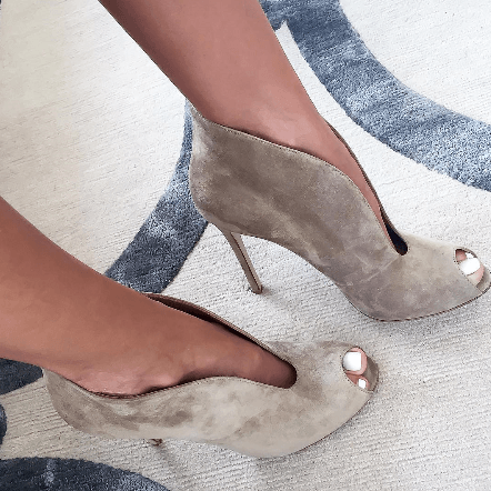 Jodi Grey Suede Leather Booties