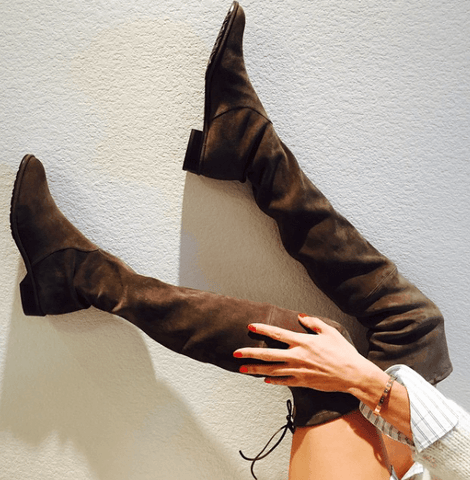 Jorja Brown Suede Leather Flat Boots
