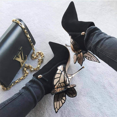 Cleopatra Suede Leather Butterfly Boots