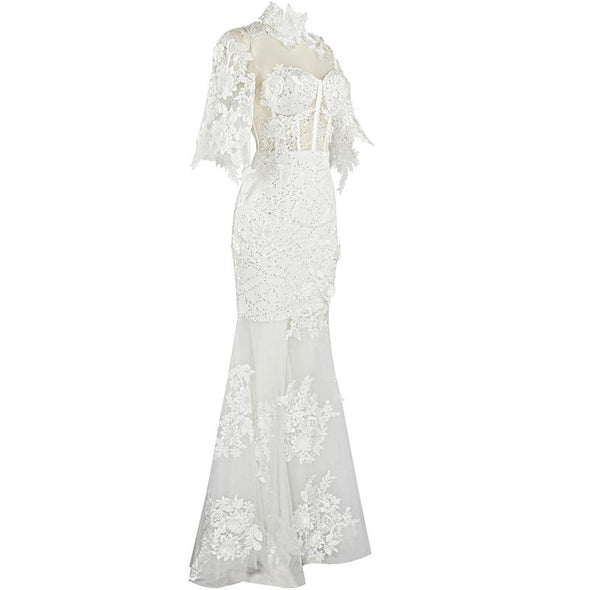 Elly White Lace Maxi Gown