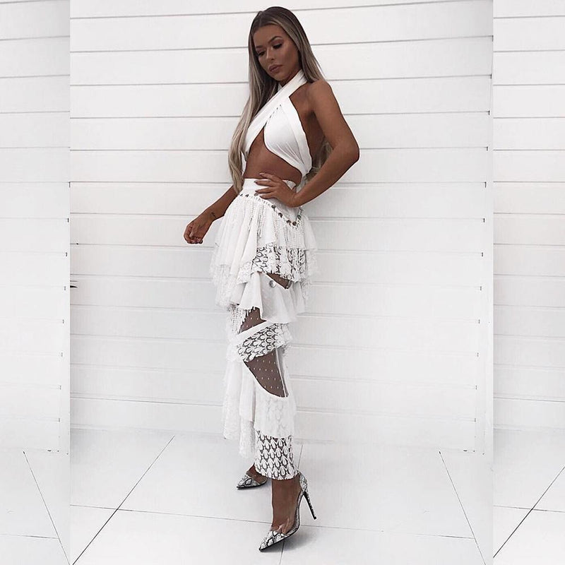 Erin White Lace Two Piece Set