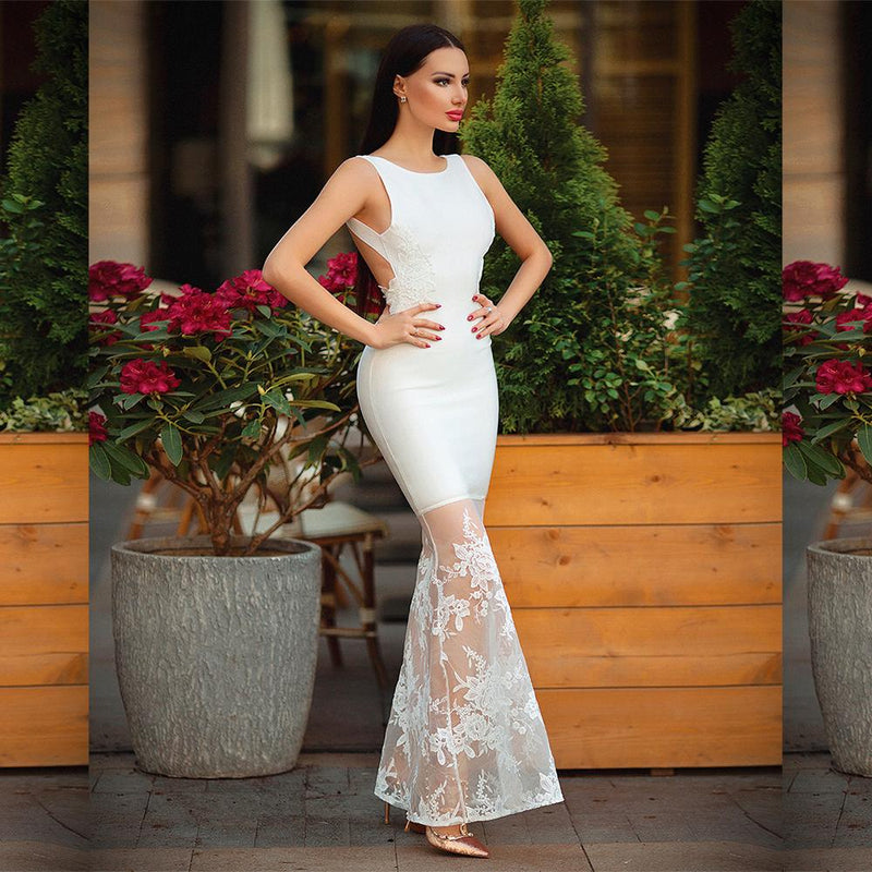 Claudette White Lace Maxi Dress