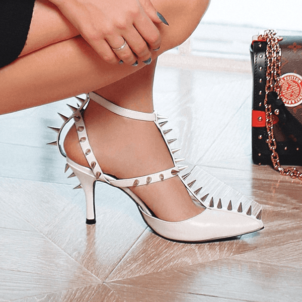 Wendy White Spike Leather Pumps