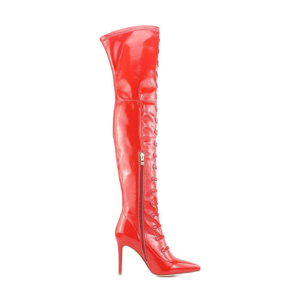 Chapman Red Patent Leather Boots