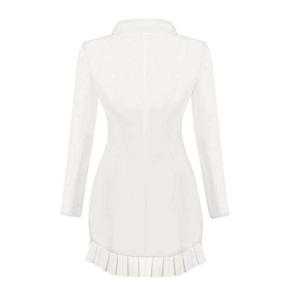 Winter White Ruffle Mini Blazer Dress