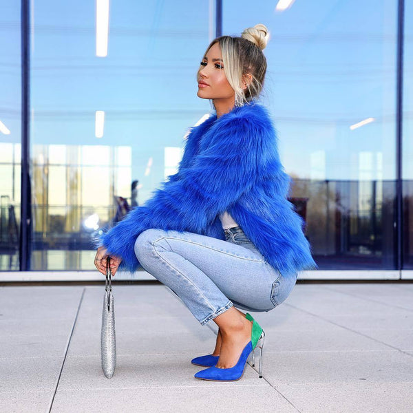Cassidy Green and Blue Suede Leather Pumps