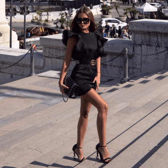 Mandi Black Tweed Mini Dress