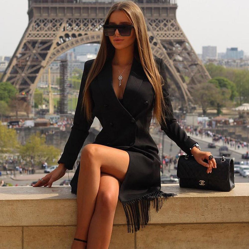 Megan Black Mini Blazer Dress