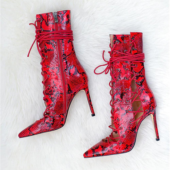 Sunnie Red Snakeskin Lace Up Boots