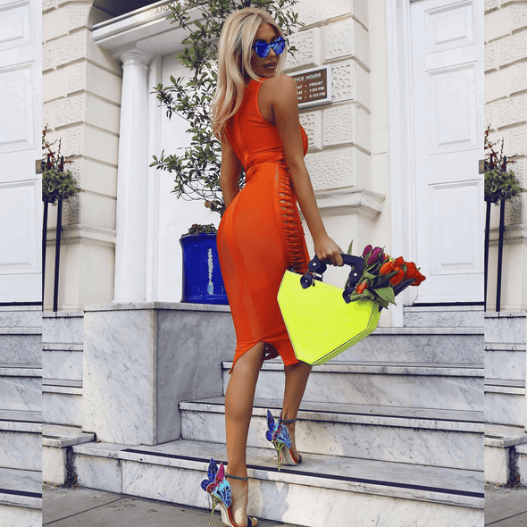 Irvine Orange Bandage Midi Dress
