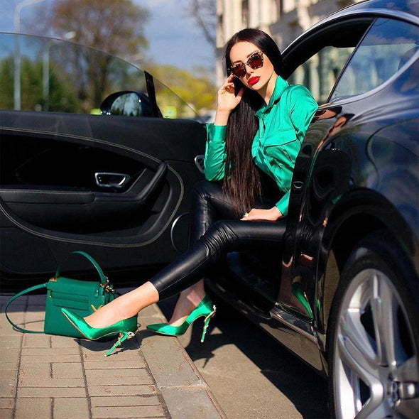 Melrose Emerald Satin Pumps