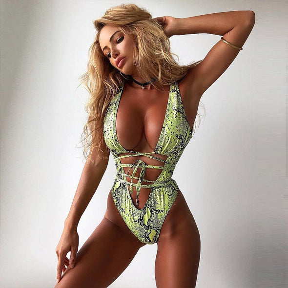 Precilla Lime Snake Print Swimsuit