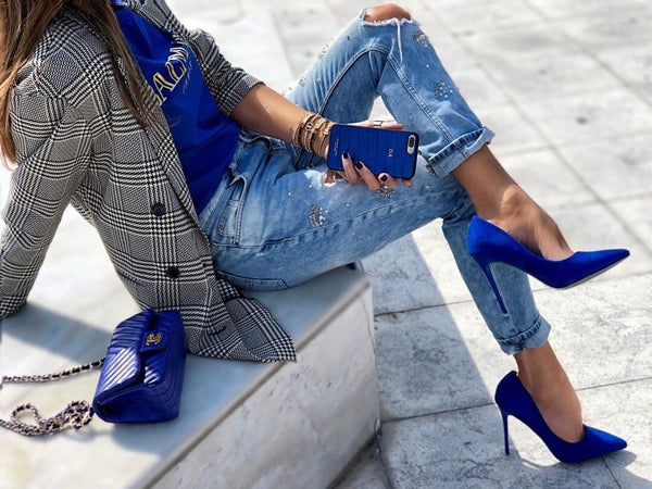Leah Blue Suede Pumps