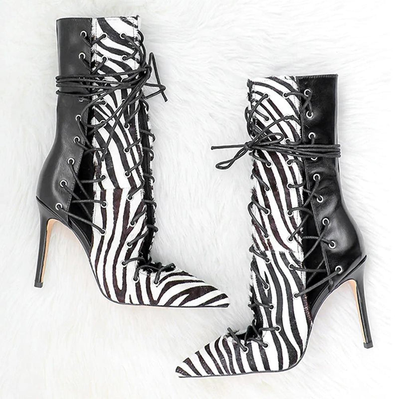 Sunnie Snake Skin Lace Up Boots