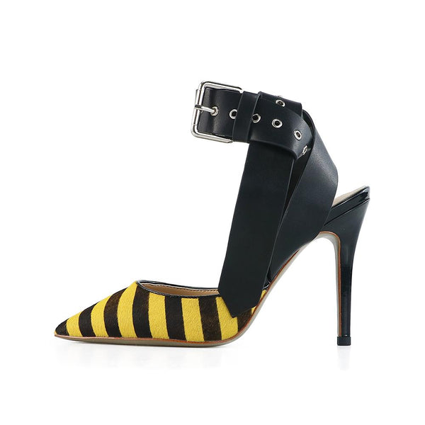 Cheryl Yellow Leather Strap Pumps