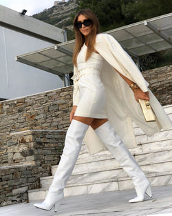 Penelope White Thigh High Boots
