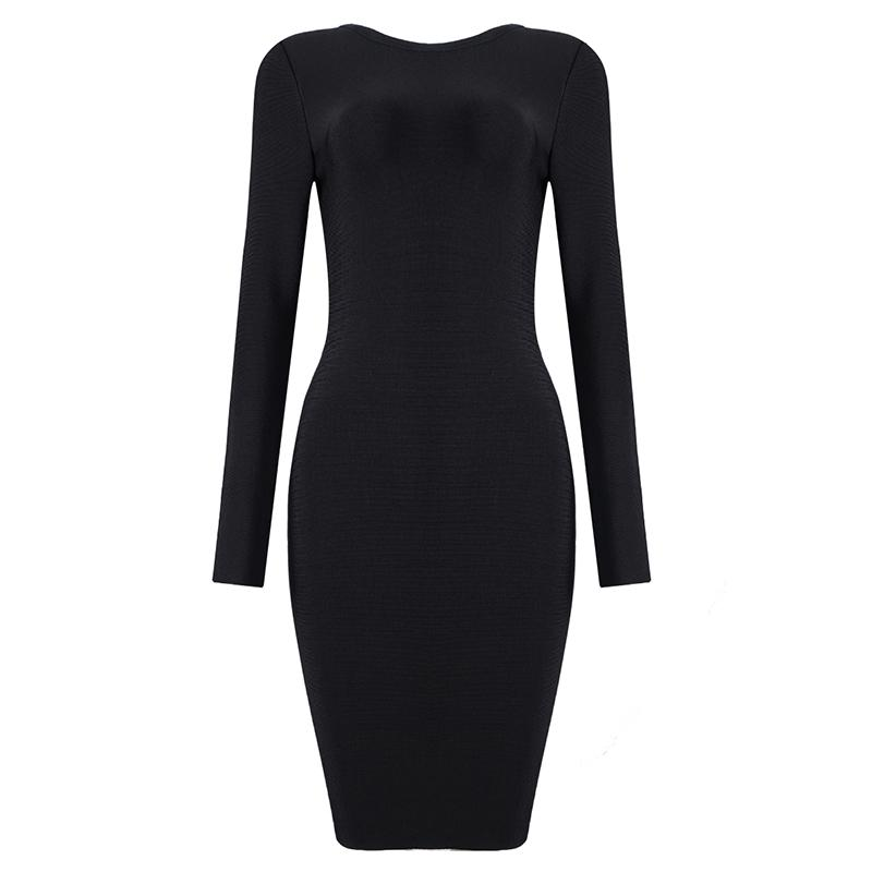 Rochelle Black Chain Detail Bandage Midi Dress