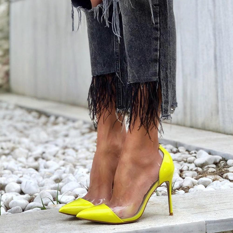 Leesh Yellow Leather Pumps