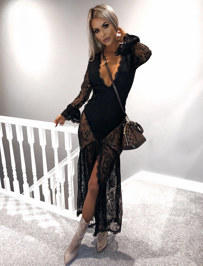 Jano Black Lace Maxi Dress