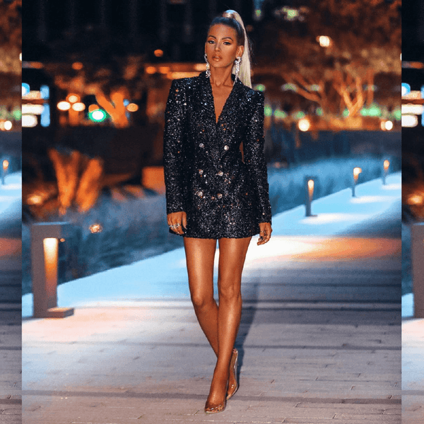 Algester Black Sequin Blazer Dress