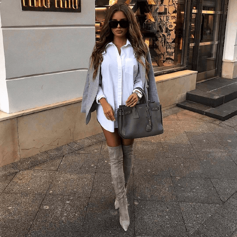 Gianna Taupe Suede Leather Boots
