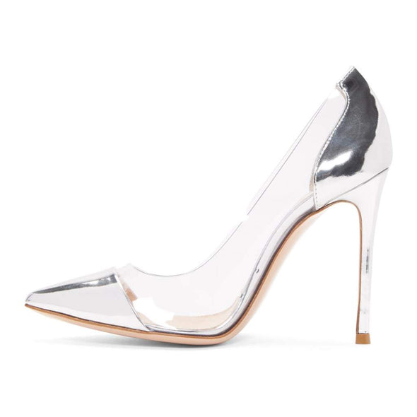 Leesh Silver Patent Leather Pumps