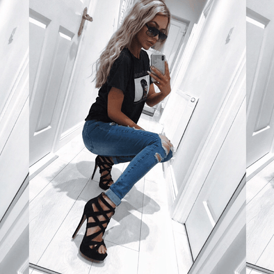 Harvey Black Suede Platform Sandals