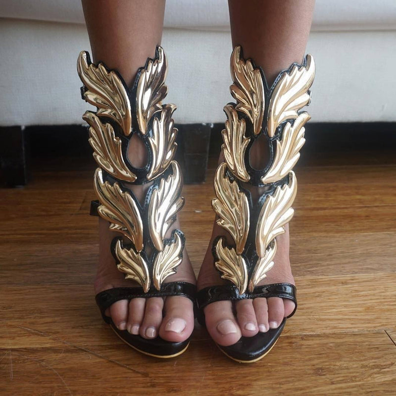 Lelani Black and Gold Leather Sandals