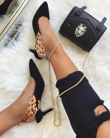 Angelique Black Gold Wing Pumps