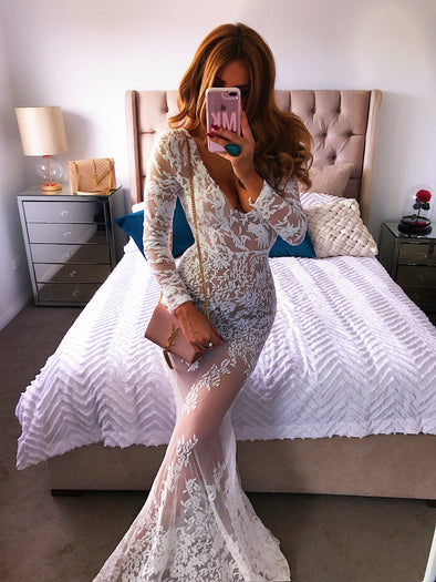 Madelina White Lace Maxi Dress
