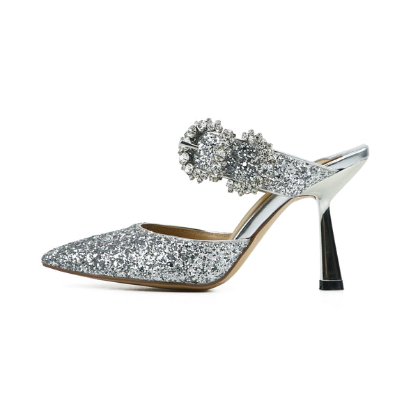 Cindy Silver Glitter Kitten Pumps