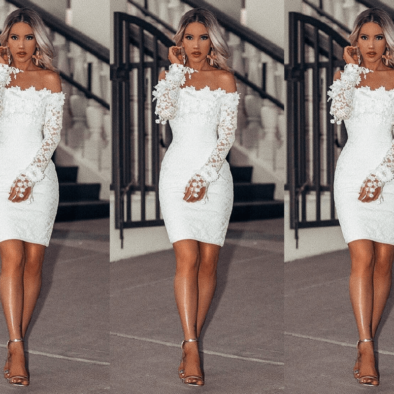 Lois White Lace Bandage Midi Dress