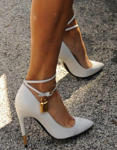 Macie White Patent Leather Pumps