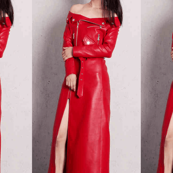 Mayhem Red Leather Midi Dress