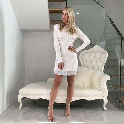 Heidi White Sequinned Mini Dress