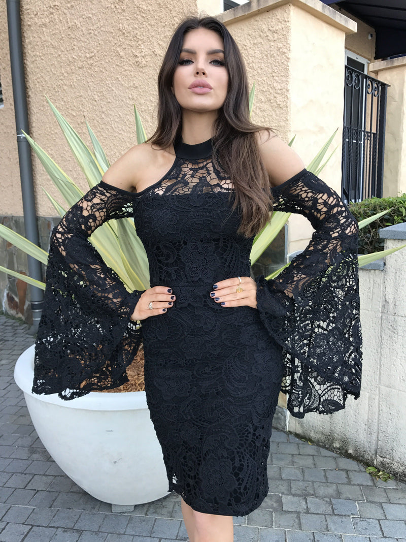 Tia Black Lace Midi Dress