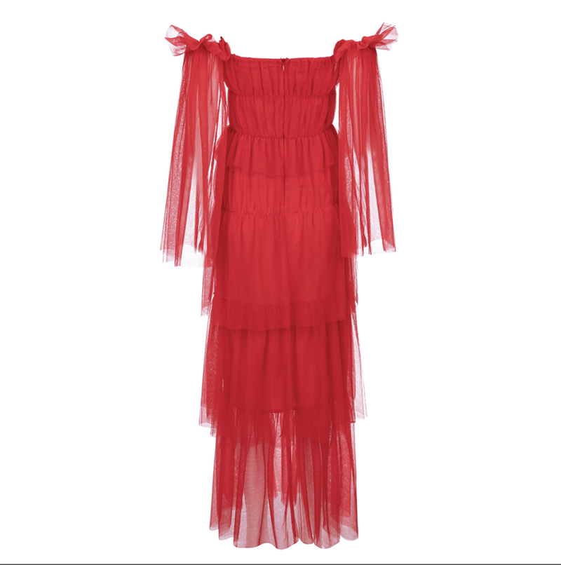 Jennifer Red Ruffle Maxi Dress