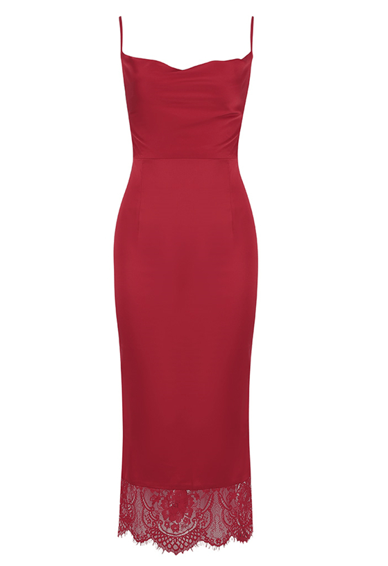 Beatriz Red  Midi Dress