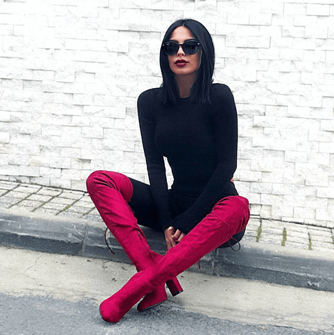 Jorja Fuschia Suede Leather Boots