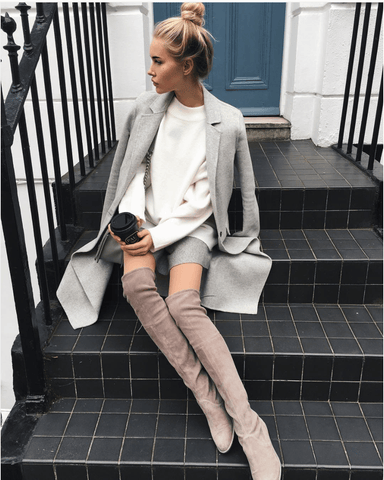 Jorja Taupe Suede Leather Flat Boots