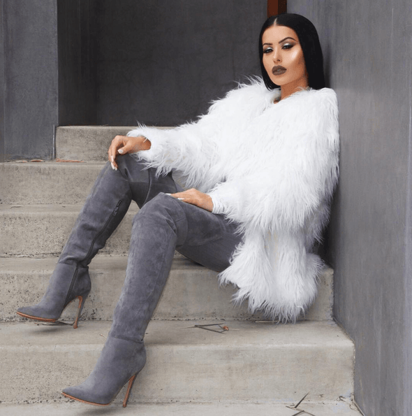 Jasmin Grey Suede Leather Boots