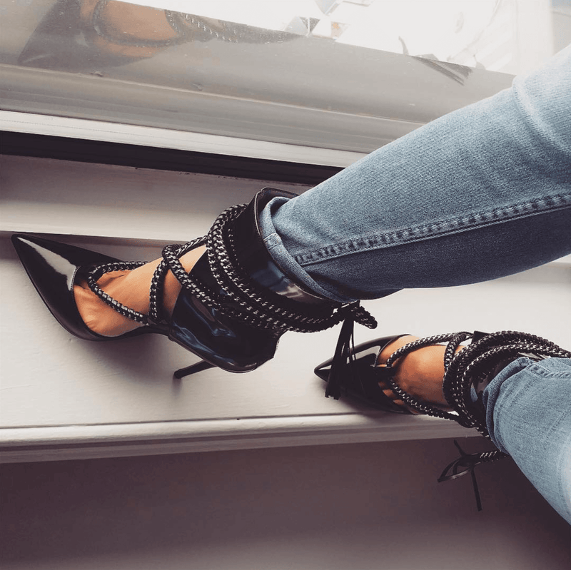 Velma Black Leather Pumps
