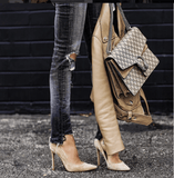 Leah Taupe Suede Leather Pumps