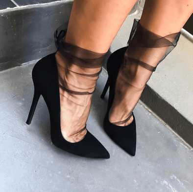 Leah Black Suede Leather Pumps